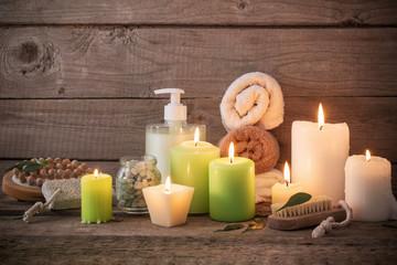 Beautiful composition of spa treatment on dark wooden  backgroun