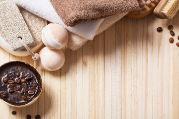 spa concept with coffee on wooden background