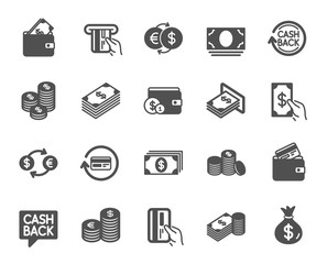 Money icons. Set of Banking, Wallet and Coins icons. Credit card, Currency exchange and Cashback money service. Euro and Dollar, Cash wallet, exchange. Banking credit card, atm payment. Vector
