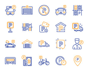 Parking line icons. Car garage, Valet servant and Paid transport parking icons. Video monitoring, Bike or Car park and Truck or Bus transport garage. Money payment, Map pointer and Free park. Vector