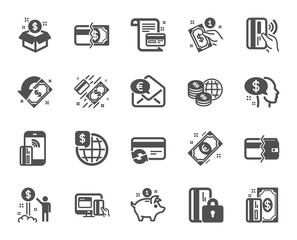 Money wallet icons. Update credit card, Contactless payment and Piggy bank icons. Online payment, Dollar exchange and Fast money send. Private pay, Blocked credit card and Wallet. Vector
