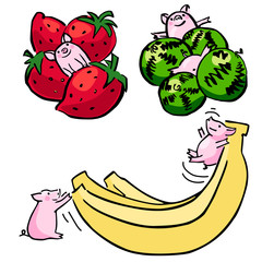 cute color vector funny set pigs with fruit