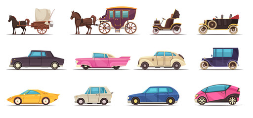Deurstickers Cartoon cars Old Modern Ground Transportation Set