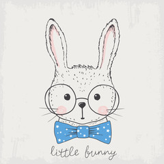 Cute rabbit face with glasses, bow tie
