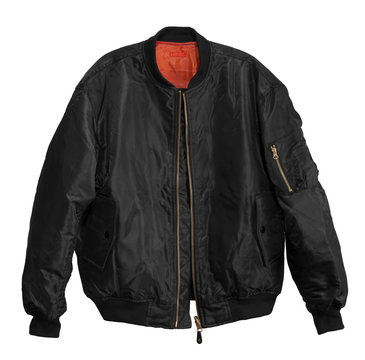 Blank Pilot bomber jacket black color front view on white background