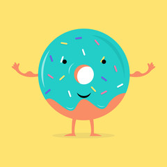 Donut character with big muscles standing with open arms