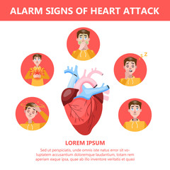 Heart attack symptoms and warning sings. Infographic