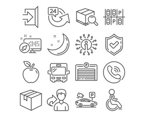 Set of Exit, 24 hours and Disabled icons. Parking place, Parking garage and Search package signs. Bus, Parcel symbols. Escape, Repeat, Handicapped wheelchair. Transport, Automatic door, Video camera