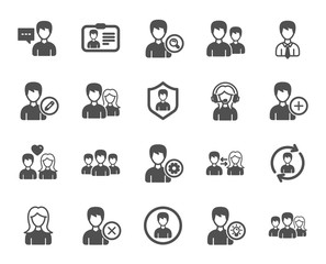 User people icons. Male and Female Profile, Group and Support icons. ID card, Teamwork people and Businessman symbols. Couple love, Security profile and User management support. Quality design element