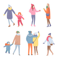 Set of people in warm clothes vector in flat style isolated on white. Standing men and women in jacket with scarf and hat with mittens holding children