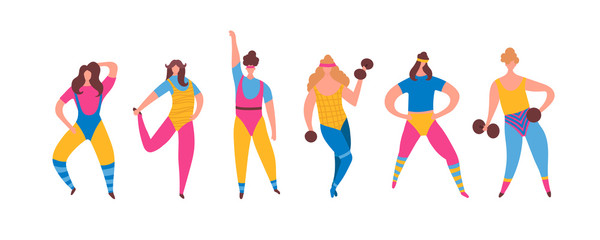 Set of 80s years woman girl in aerobics outfit doing workout shaping