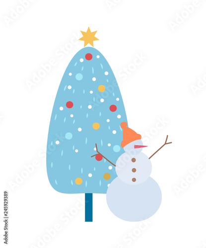 Snowman In Hat With Carrot Nose And Branch Hands Rising Up And