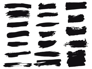 Hand drawn brushes vector pack stains for backgrounds, finishing touches. Black grunge brush set. Monochrome collection of design elements.