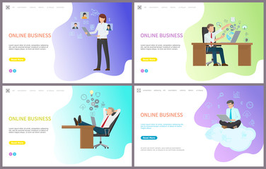 Online business, woman and man with laptops set vector. People browsing web, searching for information and data to solve problems, workers at job