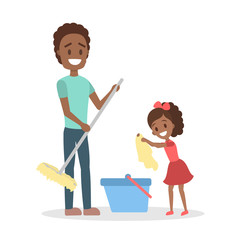 Man clean home and doing housework with daughter