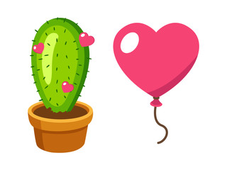 Cactus and baloon in heart shape love hurts illustration