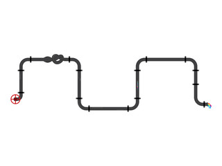 Jointed and valveed pipes vector illustration