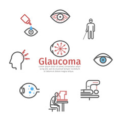 Glaucoma banner. Symptoms, Treatment. Line icons set. Vector signs for web graphics.