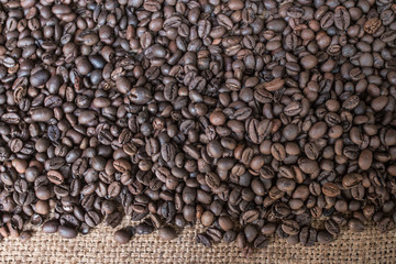 Roasted coffee beans fresh from oven