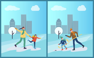 Hockey training of father and son, skating on ice vector. Family days, mother with daughter in winter park, cityscape with tree covered with snow