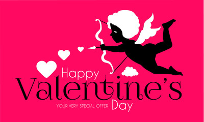 Happy Valentine s Day. Cute Design Template with Hearts, Cloud and Cupid Holding Bow and Arrow.