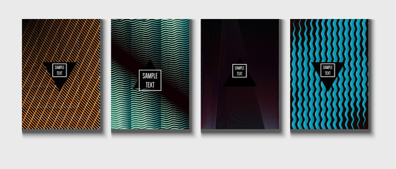 Modern Cover Design, Minimal Futuristic Vector Music Poster. Green, Pink, Blue, Gray Geometric Blend Presentation, Notebook Print. Textured Minimal Business Cover. Hipster Tech Futuristic Paper Layout