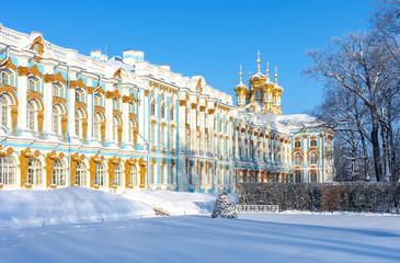 Catherine palace in winter, Tsarskoe Selo (Pushkin), St. Petersburg, Russia