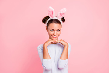 Portrait of nice cute lovely sweet attractive cheerful cheery positive funny funky girl wearing headband enjoying holiday isolated over pink pastel background