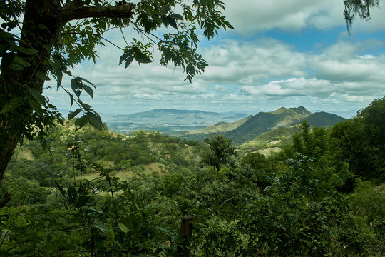 Incredible landscape of jungle-covered mountains in nicaragua