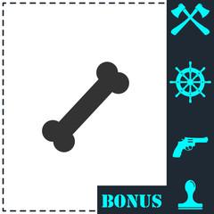 Dog Bone icon flat