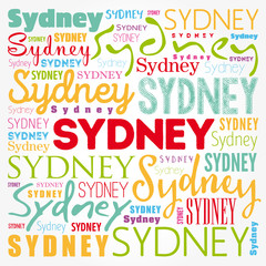 Sydney wallpaper word cloud, travel concept background