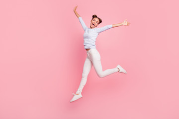 Full length body size view portrait of her she nice crazy attractive lovely fascinating cheerful optimistic funky girl celebrating screaming isolated over pink pastel background Fototapete