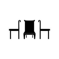 Chair and table isolated flat vector icons as room interior or online shopping sign