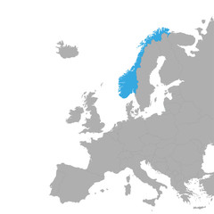 The map of Norway is highlighted in blue on the map of Europe
