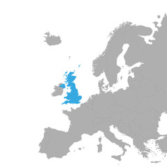The map of UK is highlighted in blue on the map of Europe