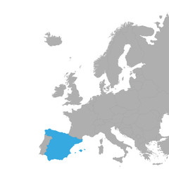 The map of Spain is highlighted in blue on the map of Europe