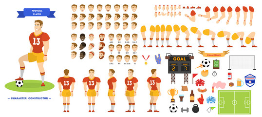 Football player character set for the animation