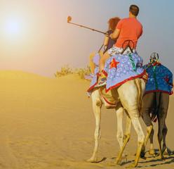 Desert safari sunrise selfie stick shot smartphone