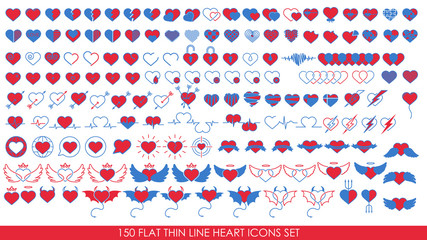 150 FLAT THIN LINE HEART ICONS SET