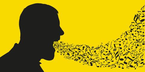 Concept de la musique et du chant avec des notes de musiques qui sortent de la bouche d'un homme dont on voit la silhouette de la tête de profil.