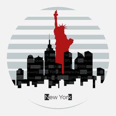 New York silhouette vector round label