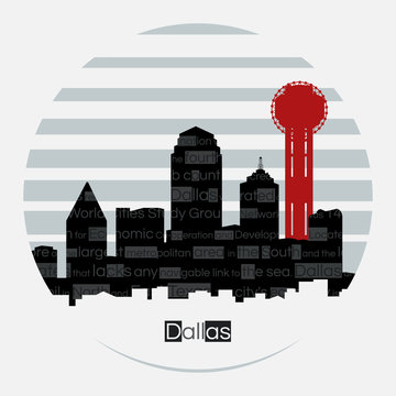 Dallas silhouette vector round label