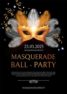 Masquerade Flyer Template with Gold Carnival Mask.