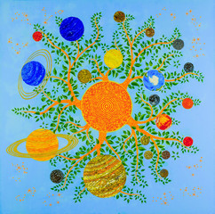 Harvest. Solar system as a tree, bottom view. The sun is a tree. Branches - prominences. Large and small planets - the fruits. Around other trees - stars, constellations, signs of the zodiac.