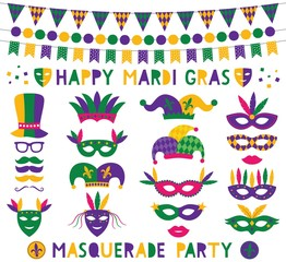 Mardi Gras decoration and party photo booth props