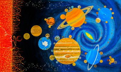 The solar system on the background of the Milky Way galaxy. Star - The Sun gives rise to planets, plasma clots are condensed. The theory of the formation of planets. Around the Star - constellations.