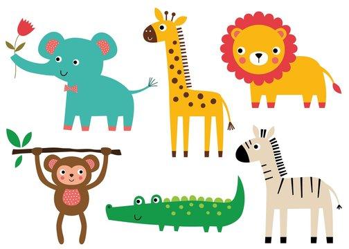 Cute baby animals, vector set