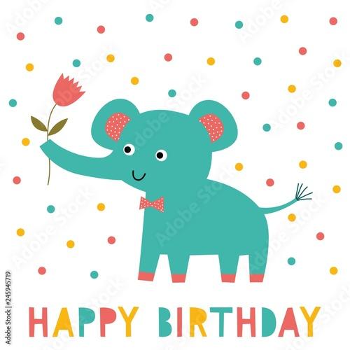 Birthday Greeting Card With An Elephant