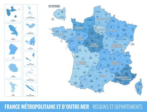 Carte des Départements et des Régions de France
