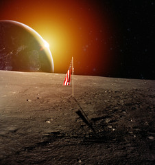 USA flag on Moon